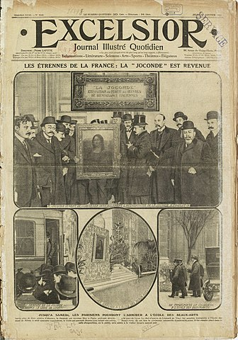 "Excelsior, ""La Joconde est Revenue"" (""The Mona Lisa has returned""), 1 January 1914"
