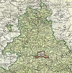 1807 map showing the Principality of Regensburg enclaved within Bavaria