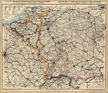 Map military and commercial Franco-German border and the neighboring states of Belgium, Holland and Switzerland