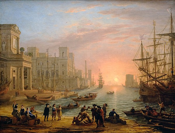 Seaport at sunrise, a French seaport painted by Claude Lorrain in 1639, at the height of mercantilism F0087 Louvre Gellee port au soleil couchant- INV4715 rwk.jpg