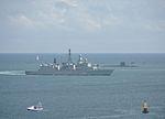F214 Lübeck and Trafalgar class sub in Plymouth Sound.jpg