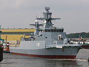 A modern stealth Braunschweig class corvette (F 261) of the German Navy
