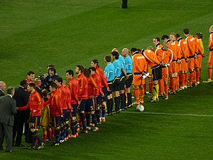 2010 FIFA World Cup Final - South African president Jacob Zuma and other dignitaries shaking hands with the lined-up teams before kick-off.
