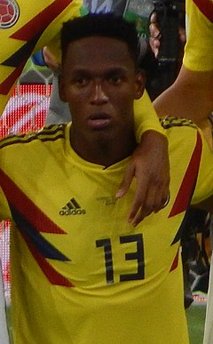 Yerry Mina v dresu Kolumbie na MS 2018