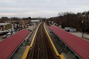 Fairmount (MBTA station) - Station, looking northeast (inbound) viewed from Fairmount Avenue bridge