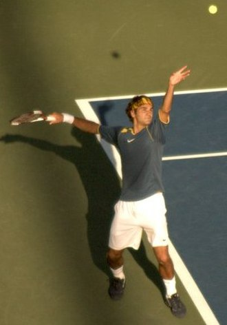 2005 US Open – Men's Singles - Roger Federer the top seed and champion of the slam is pictured serving on September 11, 2005.