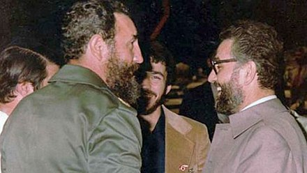 Yazdi and Fidel Castro Fidel Castro and Ebrahim Yazdi (As minister of foreign affairs of Iran and first person from Islamic repulic that meets Castro) - 1979.jpg