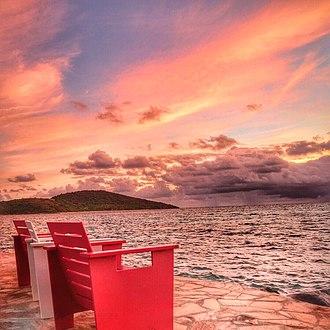 Saba Rock - Image: Fiery sky at sunset, Saba Rock, British Virgin Islands