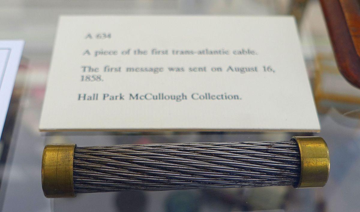 Un trozo del primer cable trasatlántico (1858).