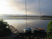 Flat calm at dawn, Windermere, from below Claife Heights - geograph.org.uk - 559443