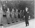 Fleet Adm. Ernest J. King, U. S. Navy, arrives at the residence of British Prime Minister Winston Churchill for a... - NARA - 198962.tif