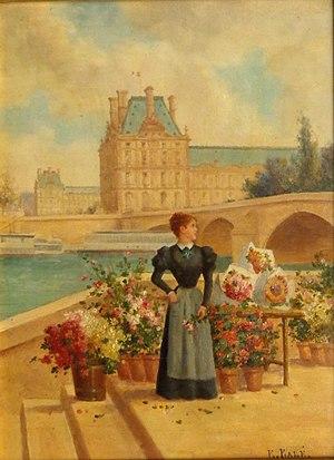 Pavillon de Flore - La Fleuriste et le Pavillon de Flore  (Émile Baré, fin 19e S.)