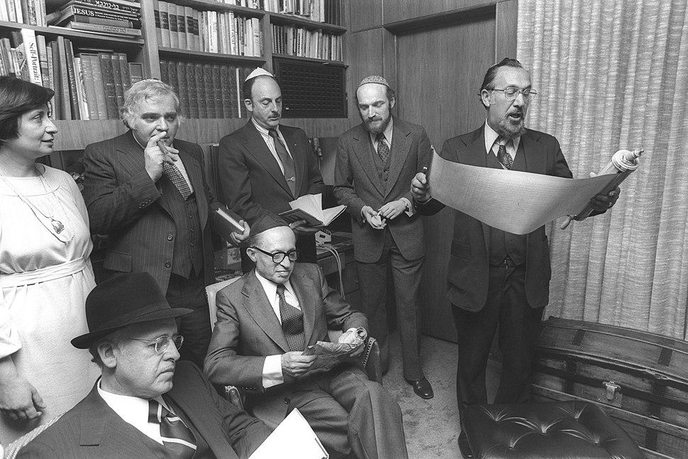 Flickr - Government Press Office (GPO) - P.M. MENACHEM BEGIN READING THE MEGILAT ESTHER