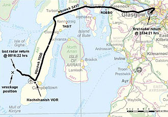 2005 Loganair Islander accident -  Flight path – 2005 Loganair Islander accident flight