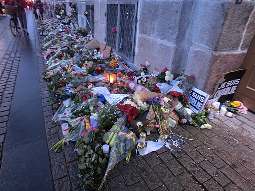 Flowers in front of the French Embassy in Copenhagen after Charlie Hebdo shooting