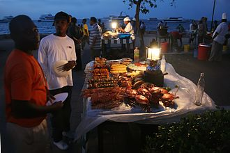 African cuisine - Barbecued beef cubes and seafood in Forodhani Gardens, Zanzibar