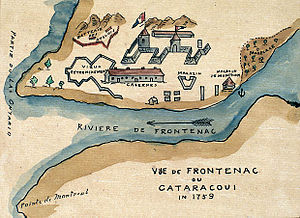"Kingston, Ontario - ""View of Frontenac or Cataracoui in 1759"". Watercolour map depicting Fort Frontenac"
