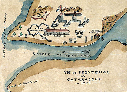 """View of Frontenac or Cataracoui in 1759"". Watercolour map depicting Fort Frontenac Fort Frontenac 1759.jpg"