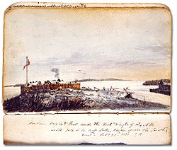Forts of Île-à-la-Crosse by George Back in 1820