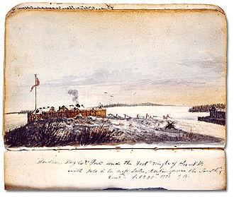 Île-à-la-Crosse - Forts of Île-à-la-Crosse by George Back in 1820