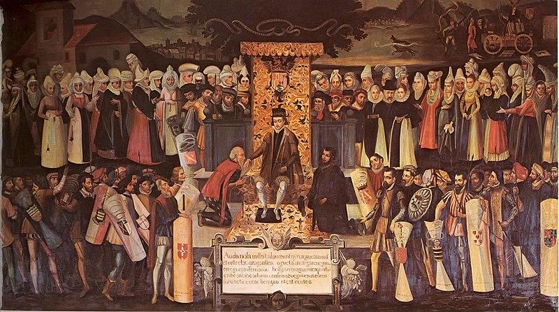 Fernando el Católico jurando respetar los fueros de Bizkaia.