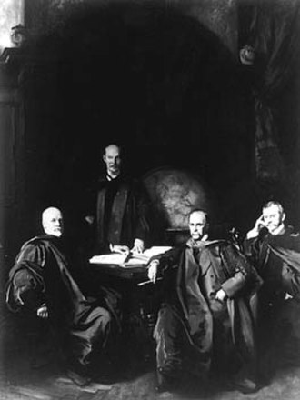William Osler - The Four Doctors by John Singer Sargent, 1905, depicts the four physicians who founded Johns Hopkins Hospital. The original hangs in the William H. Welch Medical Library of Johns Hopkins University. From left to right: William Henry Welch, William Stewart Halsted, William Osler, Howard Kelly