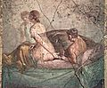 Fragment of wall painting showing two lovers in bed, from the House of L. Caecilius Jucundus in Pompeii, ca. 50-79 AD, Naples National Archaeological Museum (16700197554).jpg