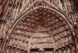 Albertus Magnus - The tympanum and archivolts of Strasbourg Cathedral, with iconography inspired by Albertus Magnus