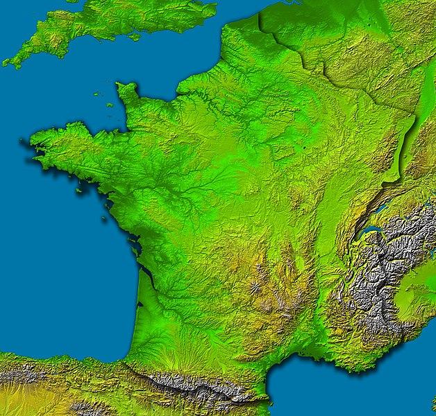 Topografie Frankreichs & Satellitenaufnahme