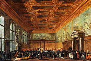 "Signoria of Venice - Francesco Guardi, ""The audience allowed by the Doge of Venice in the hall of the Collegio in Palazzo Ducale"", painting on canvas, Musée du Louvre, Paris"