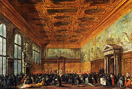 The hearing given by the Doge in the Sala del Collegio in Doge's Palace by Francesco Guardi, 1775–80 Francesco Guardi 034.jpg