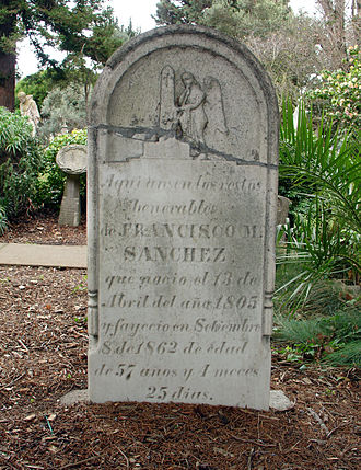 Francisco Sanchez (politician) - Grave of Francisco Sanchez at Mission Dolores Cemetery San Francisco