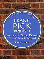 Frank Pick 1878-1941 pioneer of good design for London Transport lived here.jpg