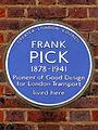 Frank Pick 1878-1941 pioneer of good design for London Transport lived here.jpg