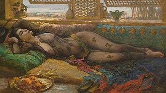 Frederick Arthur Bridgman - Reclining beauty, one of Bridgman's odalisque paintings