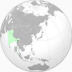 Light green: Territory claimed. Dark green: Territory controlled (with Japanese assistance).