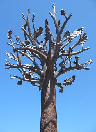 Culture of Jersey - The Freedom Tree sculpture in St. Helier marking the 60th anniversary of the Liberation of Jersey was unveiled 9 May 2005 by Queen Elizabeth II