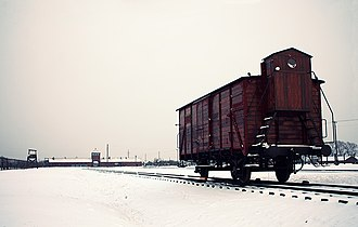 Freight car inside Auschwitz II-Birkenau, near the gatehouse, used to transport deportees, 2014 Freight car, Auschwitz II-Birkenau, 2014.jpg