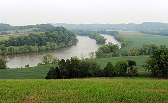 Sevierville, Tennessee - The French Broad River at the Brabson's Ferry Plantation site near Boyd's Creek