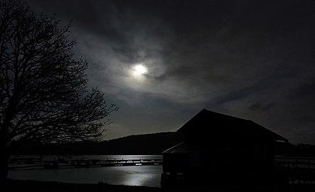 Full moon over Gullmarn fjord at Holma Marina 1.jpg