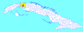 Güines municipality (red) within  Mayabeque Province (yellow) and Cuba