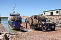 G-Wagon ambulance guided onto barge at South Goulburn Island in 2017.jpg
