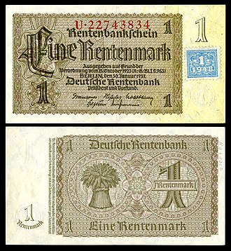 German Rentenmark - The first banknote of the East German Mark (1948), was a 1937 Rentenmark with a validation coupon stamp affixed