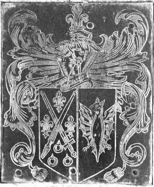 George Montgomery (bishop) - Arms of George Montgomery impaling Steyning, 1605 monumental brass, Washfield Church, Devon. The crest of Montgomery is shown on a helm above: A dexter hand couped holding a fleur-de-lys
