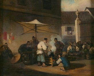 George Chinnery - Image: George Chinnery (1774 1852), Street scene , Macao , with pigs. Oil on canvas, 20.6 x 24.4 cm Victoria and Albert Museum, London