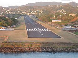 George F.L Charles Airport, Castries St Lucia, Runway View, Aug2014.jpg