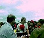 Gerhard Berger in the paddock before the 1993 British Grand Prix (33686634445).jpg