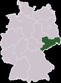 Mapa de Alemania resaltando el estado de Sajonia