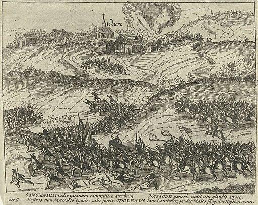 Gevechten bij Xanten en Rheinberg waarbij graaf Adolf van Nassau-Siegen sneuvelt, 1608, RP-P-OB-80.748