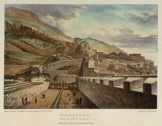 North Bastion, Gibraltar - Gibraltar from the North Bastion in 1828. The bastion jutted out from the curtain wall defending the town, which is to the right of the picture behind the ditch.